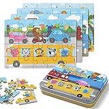 ZWOOS Rompecabezas de Madera, 4 en 1Juguete Montessori Puzzles Infantiles ,Varying Degree of Difficulty Educational Learning Tool para Pequeños Niños y Niñas 2-5 Años de Edad