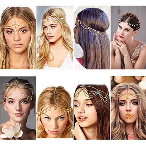 8Pcs Gold Head Chain, Small Coins Bohemian Headband and Turquoise Gemstone Jewelry Headpiece, Tassel Rhinestone Boho Hair Accessories for Women and Girls