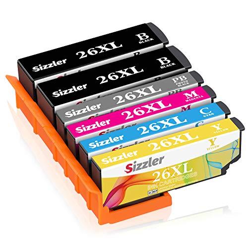Sizzler 26XL Cartucce Compatibili Epson 26 XL per Epson XP-510 XP-520 XP-600 XP-605 XP-610 XP-615 XP-620 XP-625 XP-700 XP-710 XP-720 XP-800 XP-810 (2 Nero,1 Nero Foto,1 Ciano,1 Magenta,1 Giallo)