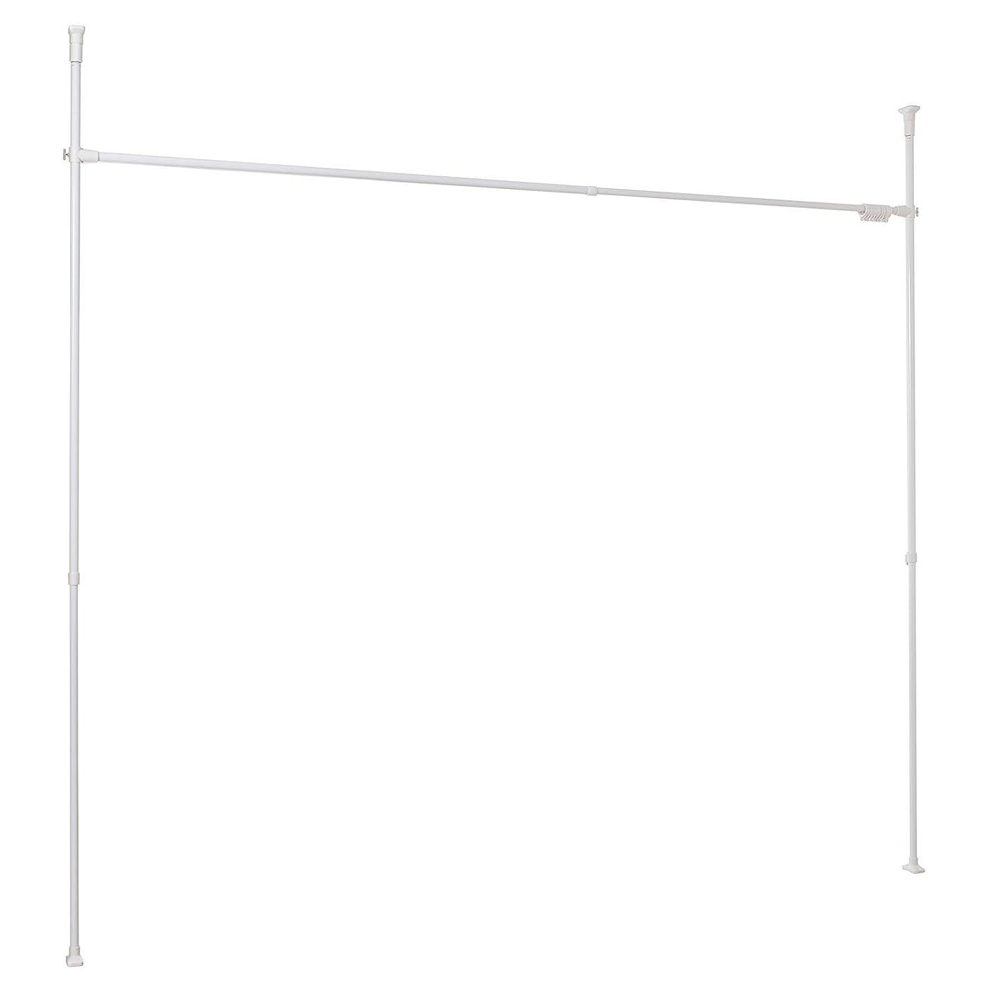 マラドロイト霧背景平安伸銅工業 突っ張りカーテン用ポール ワイド ホワイト 耐荷重6kg 幅160~280cm 高さ190~264cm TNP-6
