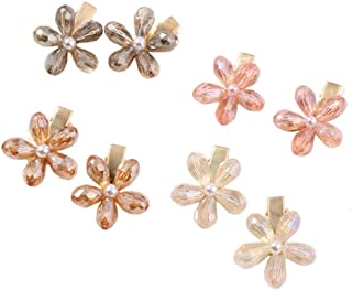 Crystal Hair Clips Small Pearl Hairpins Aguder Fashion Hair Barrettes Decorative Bling Hair Accessories for Girls Women Ladies