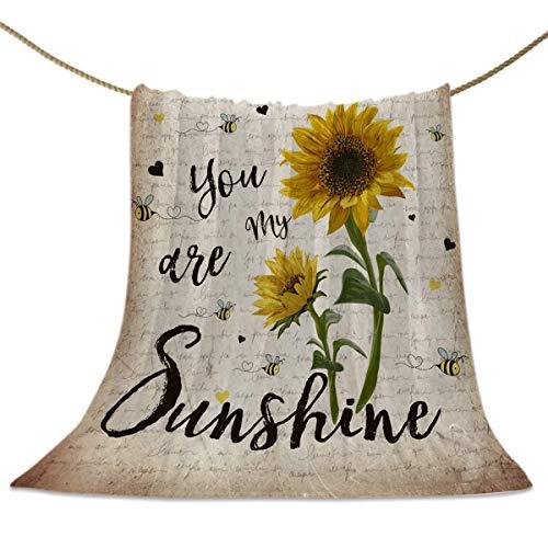 Rustikale Wurfdecken Sonnenblume und Bienen Deko...