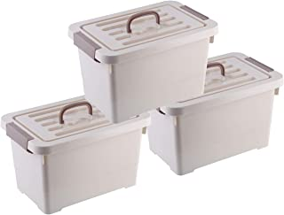 Livable 11 Quart Khaki Plastic Latch Storage Box with Lid, Storage Bin with Brown Handle/Latches, 3-Pack
