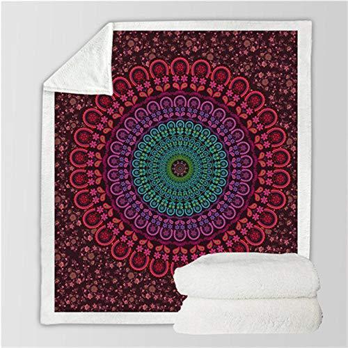 LIFUQING 3D Blanket Turquoise Paisley Mandala Design Ultra Comfortable Quilt Home SofaMicrofiber Children-130X150Cm
