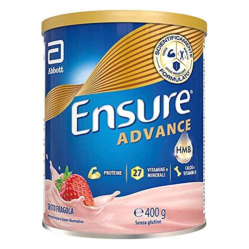 Abbott Nutrition Ensure Advance formula Nutrivigor Integratore in Polvere, con 27 Vitamine e Minerali, Integratore Alimentare con Proteine, Calcio e HMB, Confezione 400g, Gusto Fragola