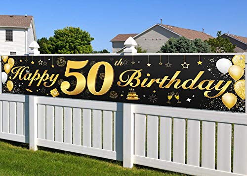 50. Geburtstagsfeier Dekorationen Banner für Männer und Frauen, wesentliche Dekoration für 50. Geburtstagsfeier, Lange Größe Schwarz und Gold 50. Geburtstag Banner 210 × 40 cm (82,7 × 15,7 Zoll)