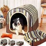 ペットベッド ドーム型 ペットハウス 2way 犬猫用 室内用 オールシーズン ふわふわ クッション付き 犬小屋 屋根付き 猫 テント おしゃれ 洗える 折りたたみ可 寝床 冷暖房 ホットカーペット対応 ペット用品 中型犬用 ベッド xl