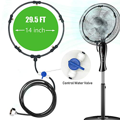 Fan Misting Kit for DIY Cool Patio Breeze with 29.5 FT(10M) Misting Line & 5 Removable Brass Nozzles Galvanized Solid Brass Adapter Suitable,Connects to Any Outdoor Fan Misters for Cooling Outdoor
