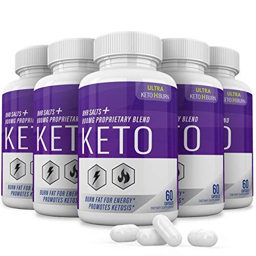 (5 Pack) Ultra Keto X Burn Shark Tank 800 mg, Ultra Keto X Burn Diet Pills Tablets Capsules, Pure Keto Fast Supplement for Energy, Focus - Exogenous Ketones for Men Women