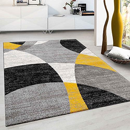 VIMODA Tapis à motif de cercles géométriques Aspect chiné en gris, blanc, noir et jaune