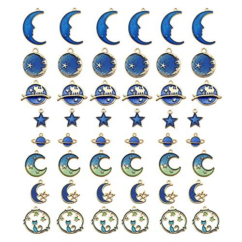 DDSGG 48 Piezas Surtidas de Esmalte Chapado en Oro, Gato, Luna, Estrella, Colgante Celestial para Manualidades, Accesorios para Hacer Joyas, Accesorios para Bricolaje, Collar, Pulsera