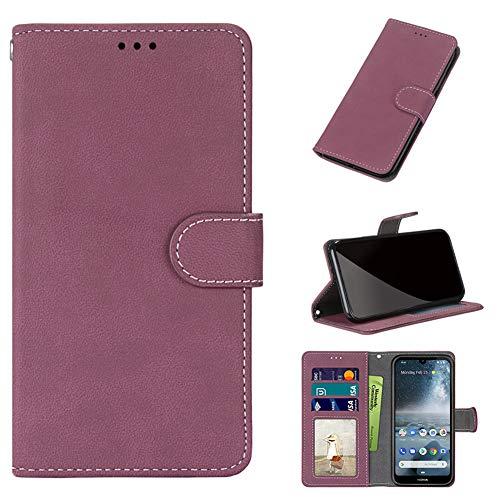 GARITANE Hülle Kompatibel mit LG G7 ThinQ/G7+ ThinQ/G7 One/G7 Fit,Handyhülle Hülle mit Magnet Kartenfächer Schutzhülle Matt Retro Lederhülle (Hot Pink)