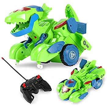 Dinosaur Remote Control Dino Transformers Toy for Boys and Girls Green Dinosaur Car for Kids 3+ with LED Light Fun Birthday Gift for Toddlers Educational Toy for Indoor or Outdoor Activity