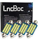 LncBoc 41mm 42mm C5W 36SMD 3014LED Lampadine a LED per Porte Interne di Auto Luci di Lettura Luci Plafoniera Luce Targa 12V Bianca Confezione da 4