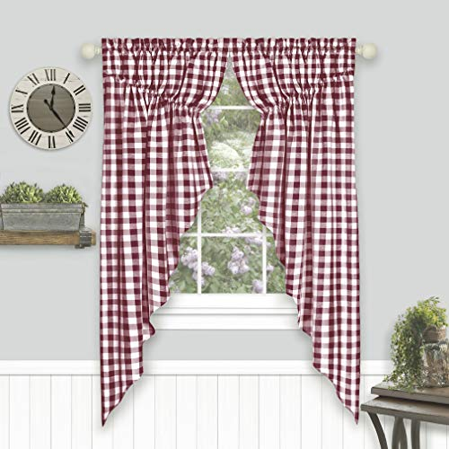 GoodGram 2 Pack Country Farmhouse Plaid Gingham Check Swag Valance Curtain Panels- Assorted Colors (Burgundy)
