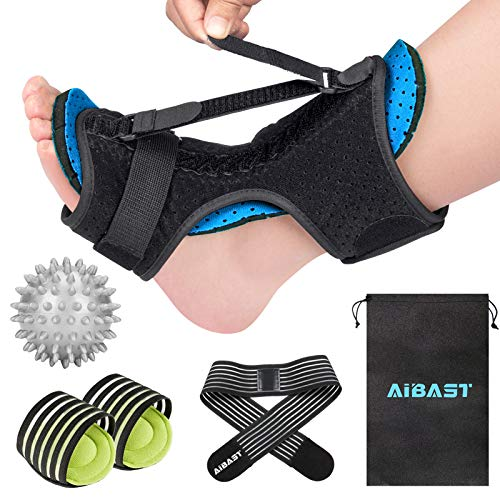 2021 New Upgraded Blue Night Splint for Plantar Fascitis, AiBast Multi Adjustable Ankle Brace Foot Drop Orthotic Brace for Plantar Fasciitis, Arch Foot Pain, Achilles Tendonitis Support for Women, Men