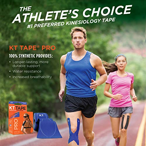 """KT Tape Pro Synthetic Kinesiology Therapeutic Sports Tape, 20 Precut, 10"""" Strips, Jet Black"""