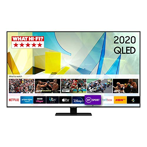 "Samsung 2020 55"" Q80T QLED 4K HDR 1500 Smart TV with Tizen OS CARBON SILVER"