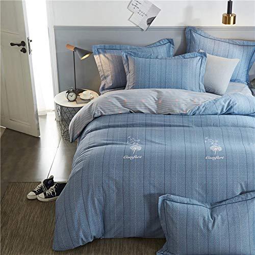 Chuanglanja dekbedovertrek voor tweepersoonsbed van puur katoen, 4-delige set, 1,8 m, blauw gestreept
