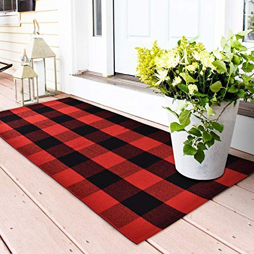 Area Rug Classic Plaid Runner Rugs Hand Woven Stain Resistant Collection Area Rug Indoor Outdoor Floor Mat for Kitchen Entryway Laundry Bathroom Living Room Carpet (Red and Black, 23.6 × 51.2 Inches)
