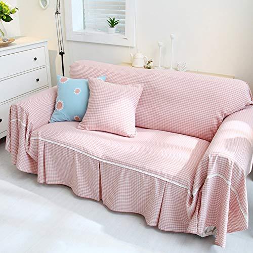 YLCJ Lattice sofa cover full cover, tuinbank handdoek anti-slip groen grid slipcover bank meubelbescherming voor 1 2 3 4 kussen sofa-C 300x180cm (118x71inch)