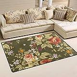 Alinlo Vintage-Teppich mit Rosenmuster, rutschfest, für Innen- und Außenbereich, für Eingangstür, Badezimmer, Heimdekoration, 30 x 76 cm