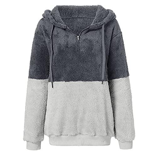 Sudaderas con capucha de bloqueo de color de las mujeres con cremallera cosida, suéter de felpa con cordón con capucha de moda de manga larga, gris oscuro, 4XL
