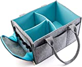 Premium Baby Diaper Caddy Organizer | Portable Nursery Storage Bin | Planner Caddy | Portable Craft Storage Organizer | Car Seat Tote with Zipper Pocket & 5mm Heavy Duty Felt (Grey/Turquoise)