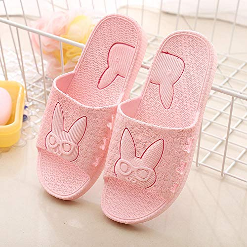 MDCGL BañO Zapatillas Zapatillas Antideslizantes de plástico para baño en casa para Mujer, Zapatos de Ducha de Hotel para Parejas, Chanclas para casa para Hombres, Rosa EU37-38