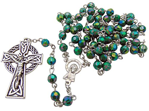 Green Irish Rosary with Celtic Cross. Material: Acrylic 6 Mm Bead Size: 19' L, 1 3/4' Crucifix