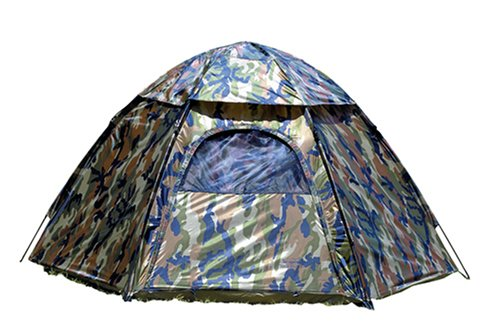 Texsport Unisex's Camouflage Hexagon Dome 3 Person Hide-A-Way Camo Backpacking Camping Tent with Carry Storage Bag, 80' 48' W x 92' D