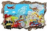 Feuerwehr Stadt Feuer Kinder Wandtattoo Wandsticker Wandaufkleber D0867 Größe 70 cm x 110 cm