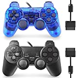 Wired Controller for PS2 Double Shock, 2 Pack Gamepad Remote Compatible with Play station 2 (Black and Clear Blue)