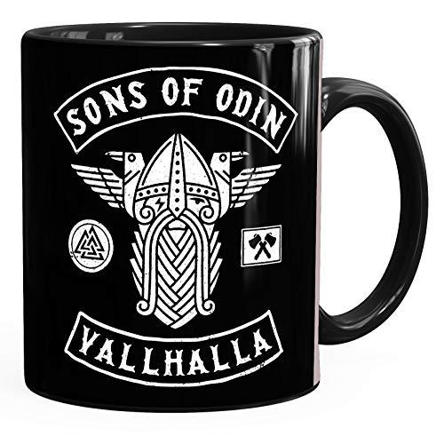 Moonworks - Taza de café de cerámica con diseño de Sons of Odin Valhalla Vikings vikingo