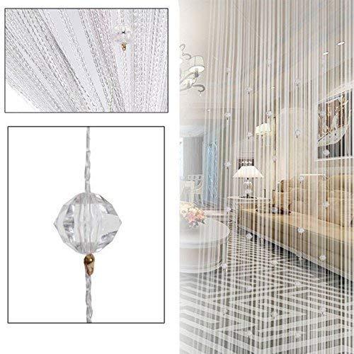 Segurry -1PCS tenda decorativa con stringhe di perline, frange da muro, divisorio per stanza, persiana per finestra, pannelli oscuranti a jabot, sciarpe, festoni velati, mantovana a strati. White