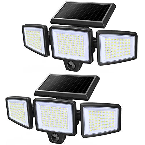 Motion Sensor Outdoor Lights, Solar Powered Flood Light, 210 LED, 2500LM, 6500K, IP65 Waterproof, 3 Adjustable Heads, 270° Angle Illumination Security Wall Lights for Garage Patio Porch Yard, 2 Pack