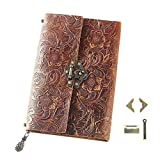 ScrodCat Leather Journal Writing Notebook - Antique Handmade Leather Bound Daily Notepad for Men & Women - Blank Paper Medium 19x14cm Travel Diary &Lock Book (Orange)