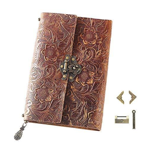 Scrodcat Ledertagebuch Notizbuch handgefertigt ledergebunden für Männer und Frauen mit Blanko-Seiten Reisetagebuch Schloss (Brown, 19x14cm)