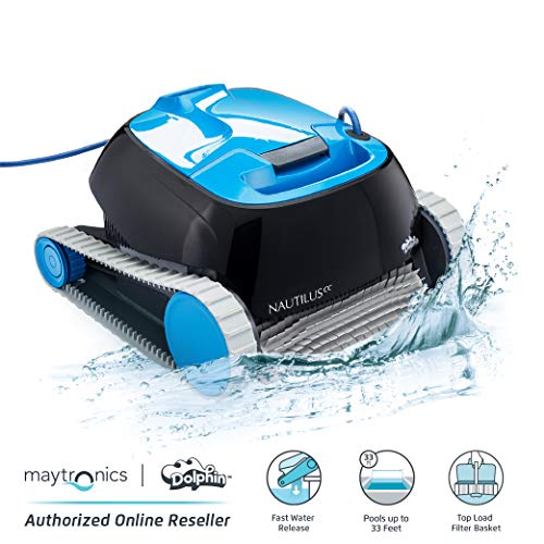 Dolphin Nautilus CC Automatic Robotic Pool Cleaner - Ideal for Above and In-Ground Swimming Pools up to 33 Feet - with Large Capacity Top Load Filter Basket