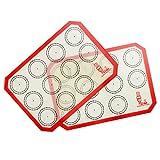 Tapete de silicona antiadherente para hornear, Lámina de horno para Macaron, Galletas, Pasta, Pizza, Pan, Ecológico y Reutilizable, esistentes al calor, sin BPA, juego de 2 unidades, 30x21cm (Rojo)