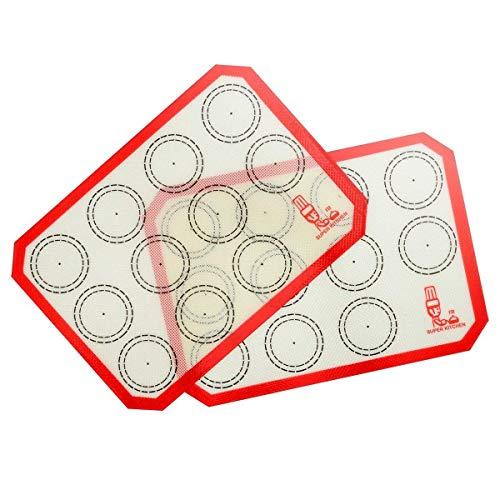 SUPER KITCHEN Backmatte aus Silikon für Macarons Keks - 2-Stück Set, Backunterlage Silikonmatte Backfolie Backpapier Backzubehör, Antihaft Matte für Makronen, Brot, Pizza, 30 x 21 cm, Tischset (Rot)