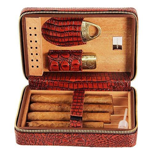 Set de fumer / Cuir Cigare Boîte à cigares avec chauffage Humidificateur Cèdre de cèdre Doublure de bois de cèdre Voyage en cuir Portable peut accueillir 4 humides de cigares Cigar Cigar Humidors Boît