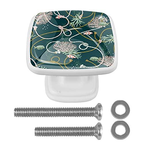 (4 piezas) pomos de cajón para cajones, tiradores de cristal para gabinete con tornillos para armario, hogar, oficina, armario, peces, cuerdas, perlas de color verde 35 mm
