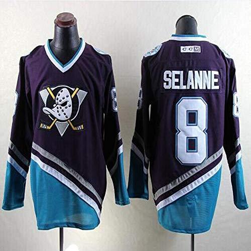 Charlie Conway # 96 / Selanne # 8 / Karya # 9 Anaheim Ducks Eishockey Trikots Herren Sweatshirts Atmungsaktiv T-Shirt Langarm Hockey Trikot(M-XXXL),8#,XXL