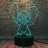 Fanrui Lilo & Stitch Teddy Lamp - Cartoon Lovely Stitch Figure Action LED Toys - 7 Color Change Auto Night Lights - Little Boys Home Room Stitch Alien Dog Decor Child Kids Baby Son Family Friend Gifts
