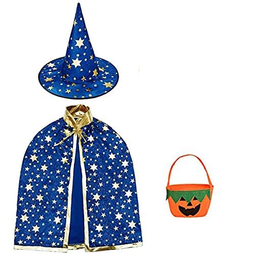 Halloween disfraz niño mago capa, Disfraz bruja bebe unisex(2 -13años)con sombrero de mago con bolsa caramelos, Infantil de Cosplay Fiesta espectáculo de escenario disfraces de halloween (azul mágico)