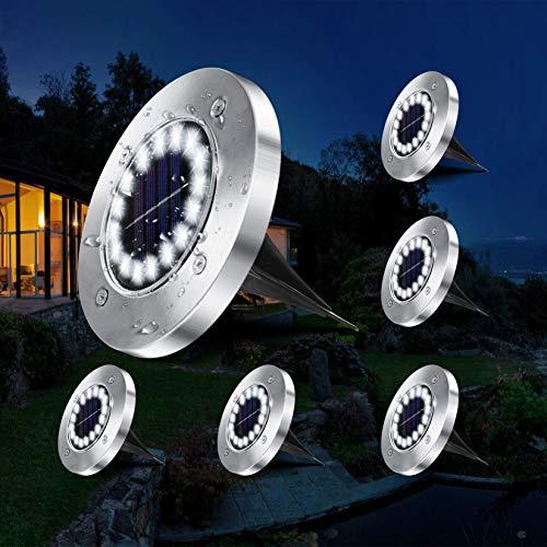 VOLADOR Solarlampen für Außen, IP65 Wasserdichte Solarleuchten Garten, 16 LEDs Solar Bodenleuchten, Solarlampen für Außen Garten, LED-Gartenleuchten Solar für Rasenweg Patio- Weiß (6 Packs)