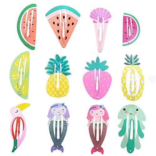 24 Unids Baby Girls Pinzas For El Cabello For Niños Accesorios For El Cabello Fruta Animal Rainbow Snap Clip Pins Horquillas Color Metal Pasador Shiny (Color : Multi-Colored)