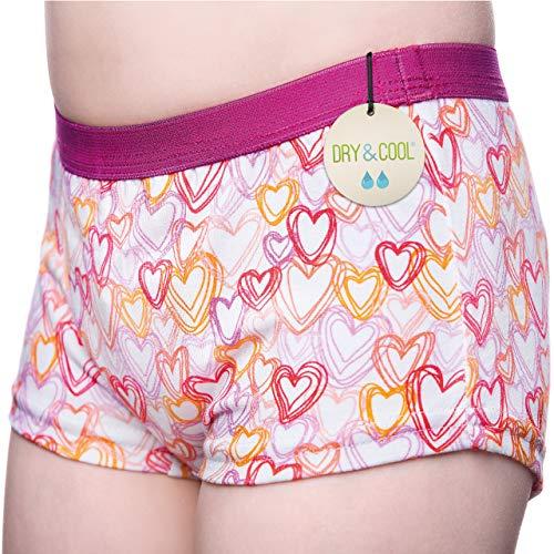 DRY & COOL Tages-Inkontinenzslip für Mädchen | Unterwäsche | Waschbar | Absorbierende Einlage | Hearts | 122-128 cm (7-8 Jahre)