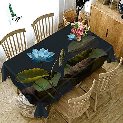 Mantel Rectángulo de mesa de rectángulo mantel de mesa rectángulo mesa mantel azul loto 3d mantel decorativo mantel mantel manteca cubierta-80 * 80cm_, tamaño: 140 * 180 cm ( Size : 140*220cm )